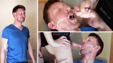 Ginger Swallows a Huge Load - CumClub.com